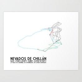 Nevados de Chillan - Chillán, Chile - Minimalist Winter Trail Art Art Print