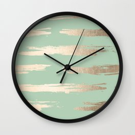 Simply Brushed Stripe White Gold Sands on Pastel Cactus Green Wall Clock