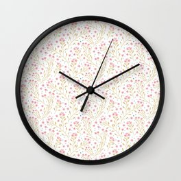 Floral pattern. Pink Flowers. Forget-me-nots. Wall Clock