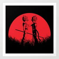 Son Goku and Bardock Red Moon Art Print