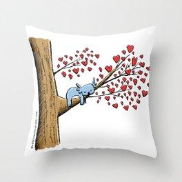 Cute Koala in Tree of Hearts Throw Pillow