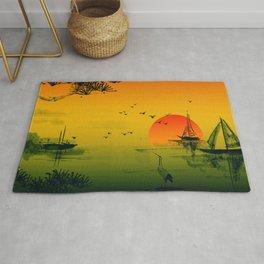 Japanese Sunset Oriental Asian Style Art Rug