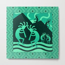 Turquoise And Black Kokopelli Metal Print