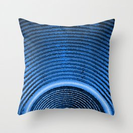 Blue music speaker and sound waves Throw Pillow