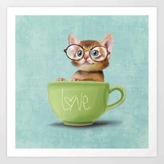 Kitten with glasses Art Print