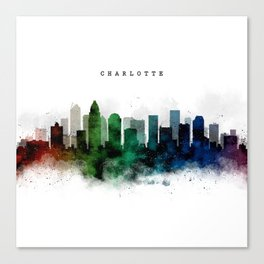 Charlotte Watercolor Skyline Canvas Print