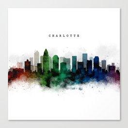 Charlotte Watercolor Skyline Canvas Print