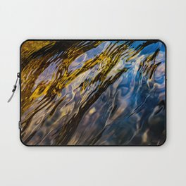 River Ripples in Copper Gold Blue and Brown Laptop Sleeve