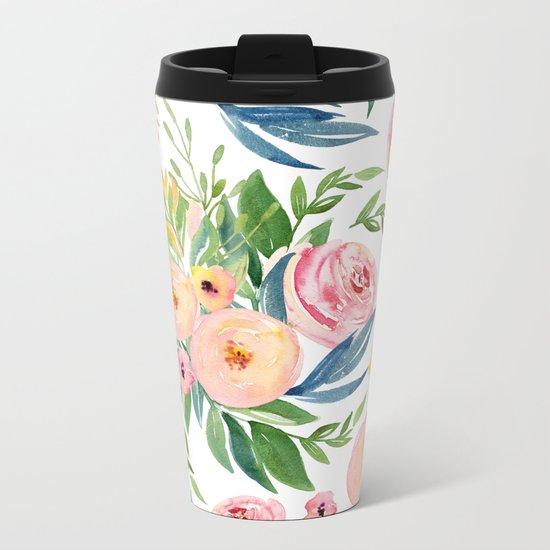 Elegant Roses Coral Pink + Green Metal Travel Mug