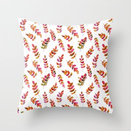 Watercolor fall robinia leaves Throw Pillow