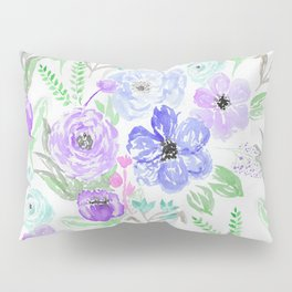 Hand painted lavender lilac blue watercolor flowers Pillow Sham