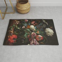 Still Life Parrot Tulips, Peonies, Hibiscus, Hydranga, Periwinkle Flowers in Vase by Jan de Heem Rug