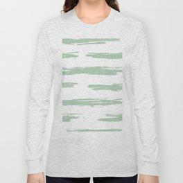 Swipe Stripe Pastel Cactus Green and White Long Sleeve T-shirt