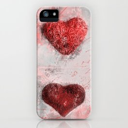 Heart Love Red Mixed Media Pattern Gift iPhone Case
