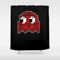 pac man Shower Curtains featuring PAC MAN GHOST by Minx Macabre