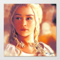 mother of dragons Canvas Prints featuring Mother of Dragons by markclarkii