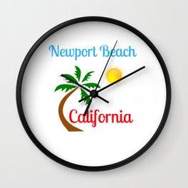 Newport Beach California Palm Tree and Sun Wall Clock