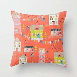cute houses, bicycles, and flags Throw Pillow