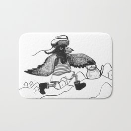 A Raven with a strict wife Bath Mat