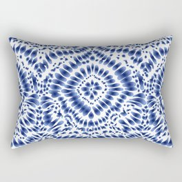 Indigo Blue Tie Dye Textile Pattern Rectangular Pillow