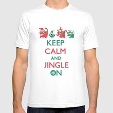Keep Calm and Jingle On MEDIUM White Mens Fitted Tee