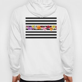 flowers on black and white stripes Hoody