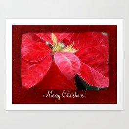 Mottled Red Poinsettia 2 Merry Christmas P5F1 Art Print