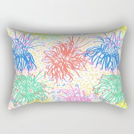 Australian Firewheel Flowers in Mod Rainbow + White Rectangular Pillow