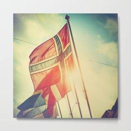 norway flag in oslo Metal Print