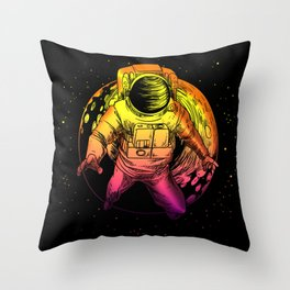 Floating Astronaut With Moon graphic Universe Cience Lovers Throw Pillow