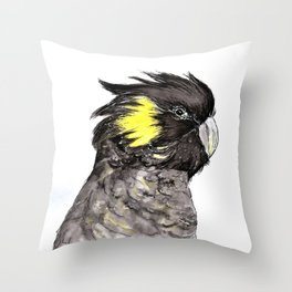 Yellow Tailed Black Cockatoo Throw Pillow