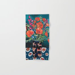California Poppy and Wildflower Bouquet on Emerald with Tigers Still Life Painting Hand & Bath Towel
