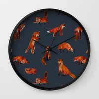 foxes Wall Clocks featuring Foxes by Katelyn Patton