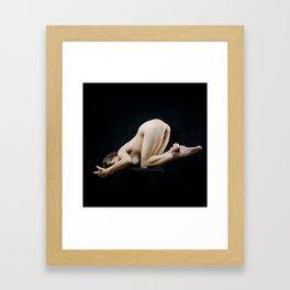 8283s-KMA Art Nude Model Kneeling on Platform Bottoms Up Framed Art Print