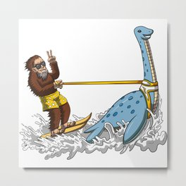 Bigfoot Riding Loch Ness Monster Conspiracy Metal Print