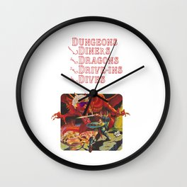 Dungeons & Diners & Dragons & Drive-Ins & Dives Wall Clock