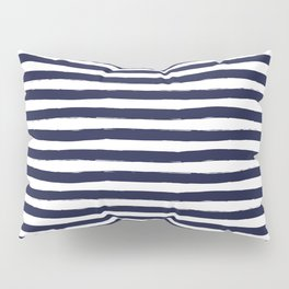 Navy Blue and White Horizontal Stripes Pillow Sham