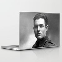 hemingway Laptop & iPad Skins featuring Ernest Hemingway in Uniform, 1918 by Limitless Design