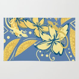 Samoan Orchid Sunset Polynesian Floral Rug