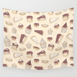 Chocolate Pastry Pattern Wall Tapestry