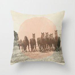 Band of Horses - Peach Throw Pillow