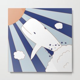 Flying Whale Metal Print