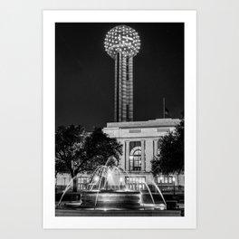 Dallas Texas Reunion Tower and Fountain - Monochrome Art Print