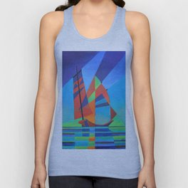 Cubist Abstract Junk Boat Against Deep Blue Sky Unisex Tank Top