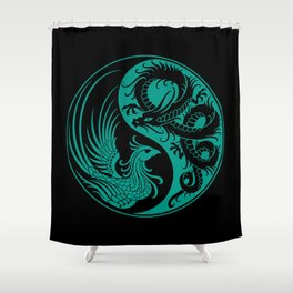 Teal Blue and Black Dragon Phoenix Yin Yang Shower Curtain