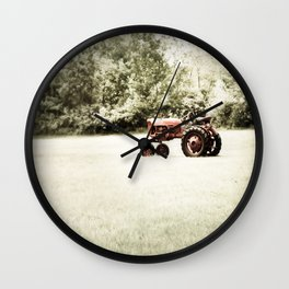 Vintage Red Tractor Wall Clock