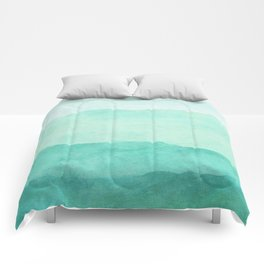 Ombre Waves in Teal Comforters