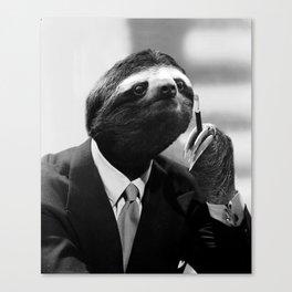 Gentleman Sloth smoking a cigarette Canvas Print