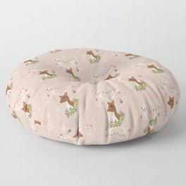 Christmas Deer in Blush Pink Floor Pillow