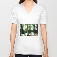 woodland V-neck T-shirts featuring Woodland by PRETTY BONES LEE